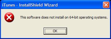 Installer error message